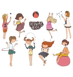 Set of fun and kind kids Girls vector