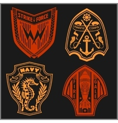 Set of military and armed forces badges labels vector