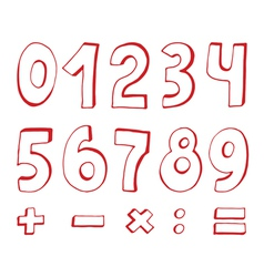 set of red numbers vector image