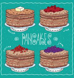 Set of thin pancakes in handmade cartoon style vector