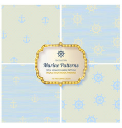 set seamless patterns in nautical style vector image