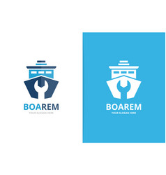 ship and repair logo combination boat and vector image