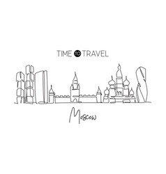 single continuous line drawing moscow city vector image
