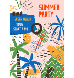 summer party creative colorful poster template vector image