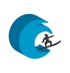 Surfer symbol flat isometric icon or logo 3d vector