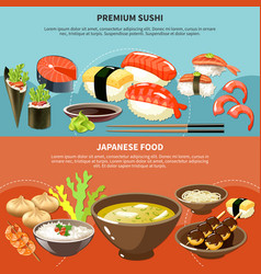 sushi colored banner set vector image