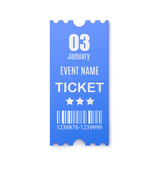 Template blue paper ticket for event identity vector