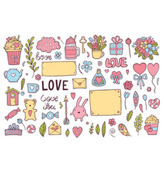 valentines day theme doodle set traditional vector image