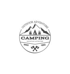 Vintage mountain trekking climbing hiking camping vector