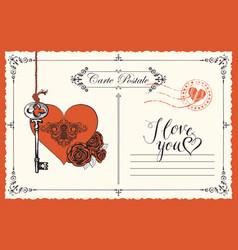 vintage postcard theme declaration love vector image