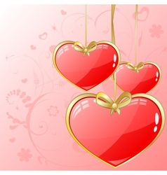 Volume hearts with gold ribbon vector image