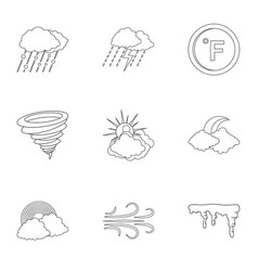 Weatherboard icons set outline style vector