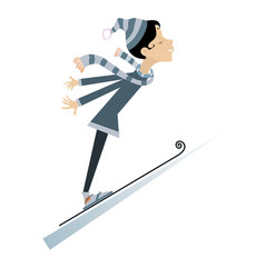 young woman a ski jumper isolated vector image