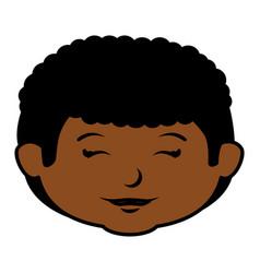 black little boy head character vector image vector image