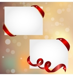 christmas banner with red ribbon vector image