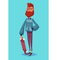 Funny of hipster cartoon character vector image vector image