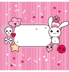 Funny background with doodle kawaii vector image vector image