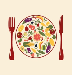 Healthy Food Restaurant Icons vector image vector image