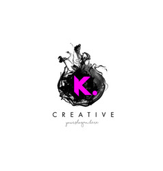 k letter logo design with ink cloud texture vector image vector image