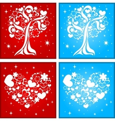 Lovely tree and heart background vector image vector image