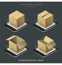 Set of dark isometric cardboard box vector