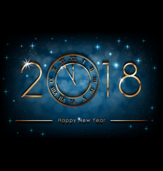 happy new 2018 year on blue shiny vector image