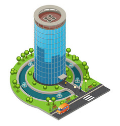 isometric modern glass office building concept vector image vector image