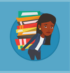 student with pile of books vector image