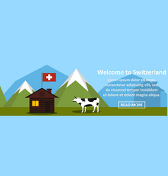 welcome to switzerland banner horizontal concept vector image