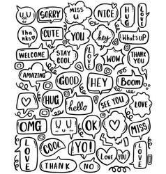 0102 hand drawn background set cute speech vector