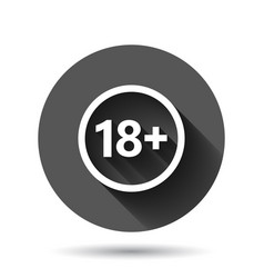 18 plus icon in flat style adult only on black vector