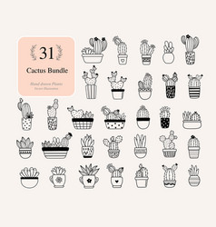 31 cactus bundle plants cactus with flowers files vector image