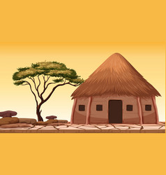 A traditional hut at desert vector