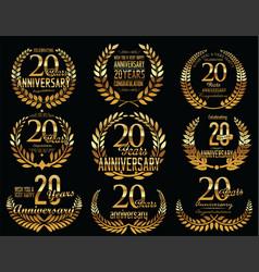 Anniversary golden laurel wreath retro vintage vector