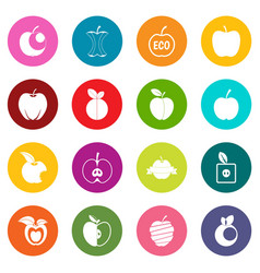 apple icons many colors set vector image