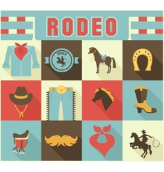 Assortment rodeo themed icons vector