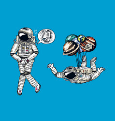 astronaut spaceman with balloons moon sun earth vector image