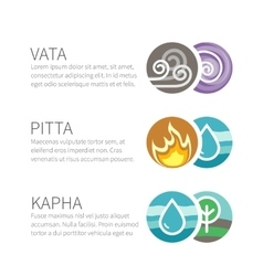 Ayurveda elements and doshas with text vector