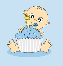 baby boy birthday cake vector image