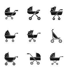 Baby pram icon set simple style vector