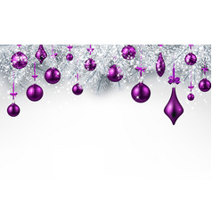 Background with purple christmas ball vector