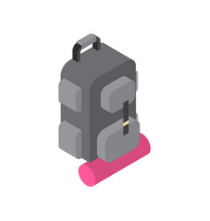 backpack with sleeping bag hiking icon isometric vector image