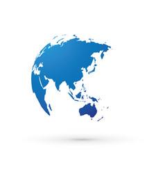 Blue world earth globe asia japan vector