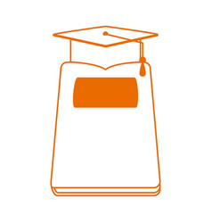 Book and graduation hat home education line color vector