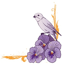 border with violet pansies and bird vector image