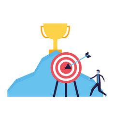 businessman trophy mountain and target vector image