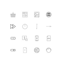Buttons simple linear icons set outlined icons vector