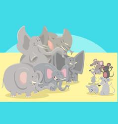 Cartoon elephants and mice animal characters vector