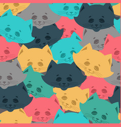 cat face seamless pattern home pet background vector image