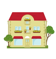 City building with a shop on the ground floor vector